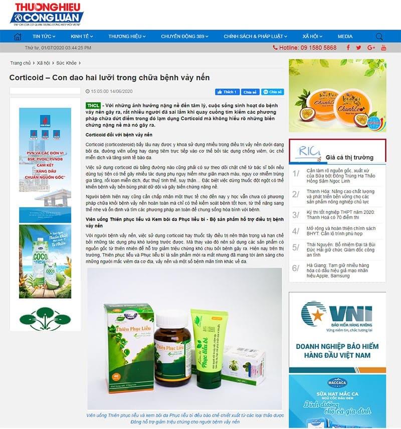 Báo Thương Hiệu & Công Luận đánh giá cao sản phẩm Y dược Luân Thành trong hỗ trợ điều trị vảy nến