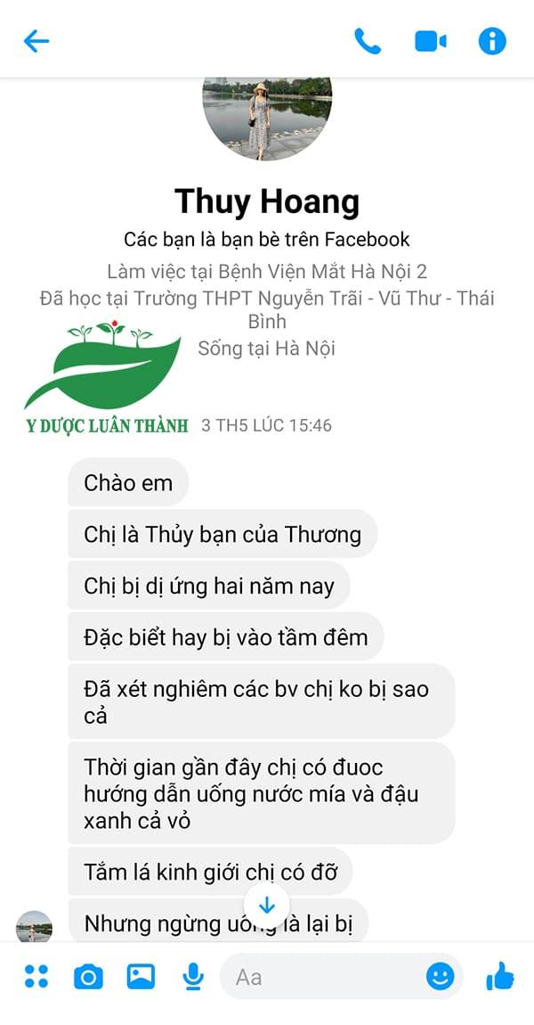 Tin nhắn lúc đầu gửi đến Luân Thành