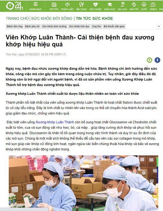 Báo 24h đưa tin về sản phẩm Xương khớp Luân Thành