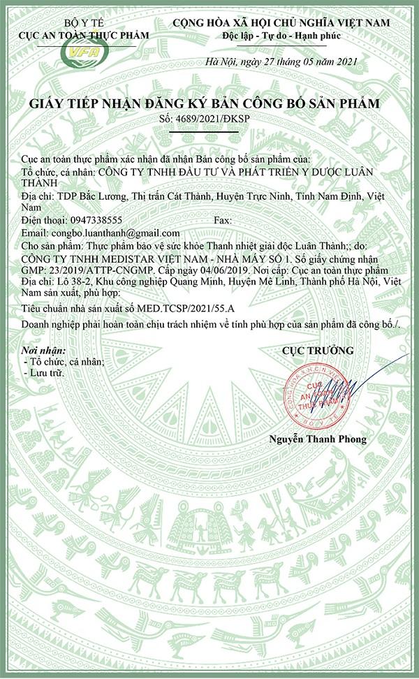 Giấy cấp phép công bố sản phẩm Thanh nhiệt giải độc Luân Thành