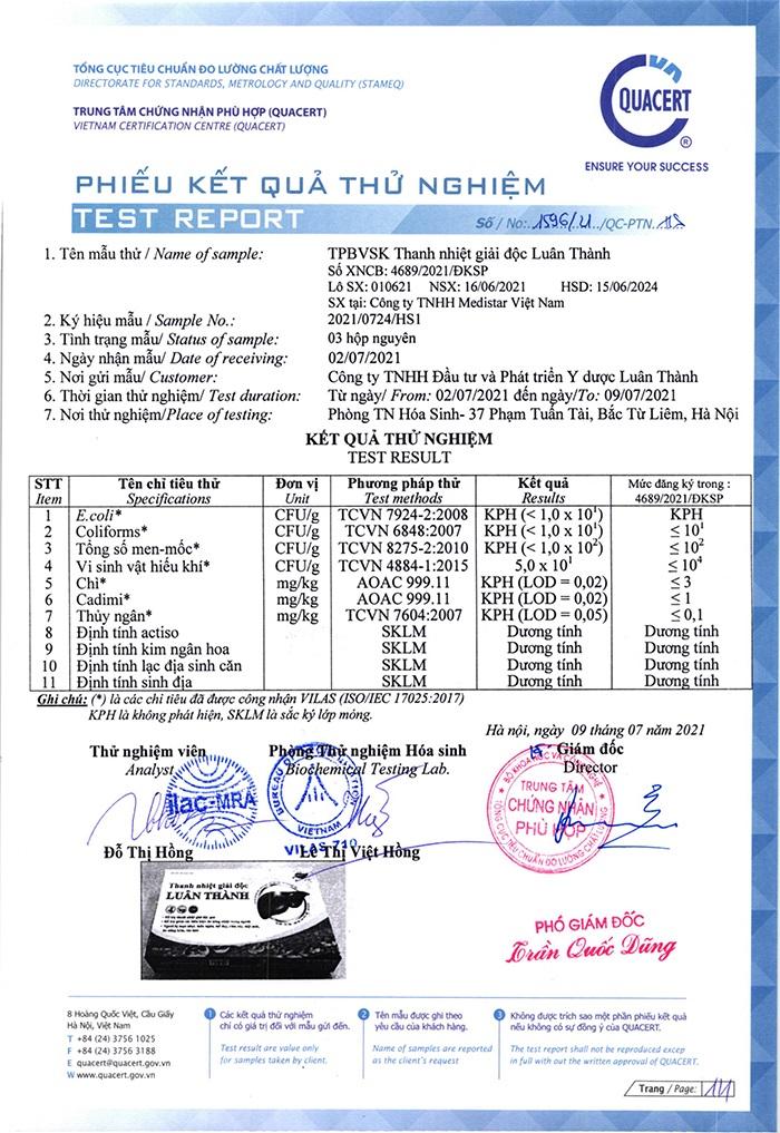 Phiếu kiểm nghiệm sản phẩm Thanh nhiệt giải độc Luân Thành